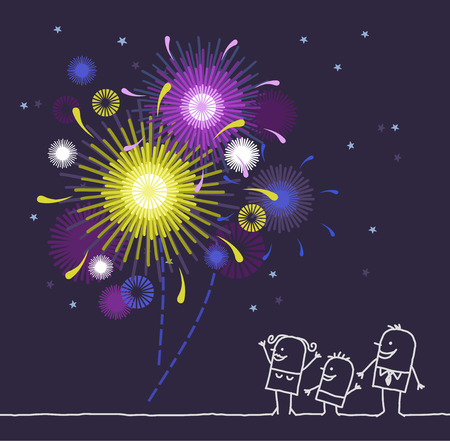 52763255 - hand drawn cartoon characters - family & firework
