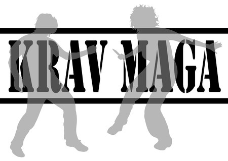 64557146 - vector illustration krav maga with silhouettes of people