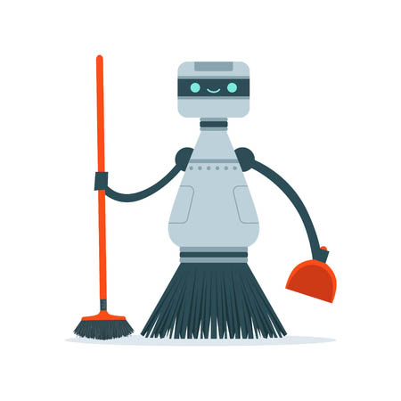 82277486 - housemaid cleaning robot character vector illustration i